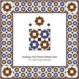 Geometría antigua de la cruz de la estrella del modelo set_113 del marco de la teja Imágenes de archivo libres de regalías