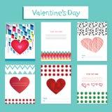 Geometría de las tarjetas de felicitación del día de tarjeta del día de San Valentín Fotografía de archivo libre de regalías