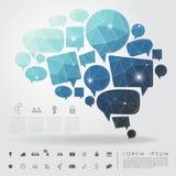Geometría del cerebro de la burbuja con el icono del negocio