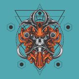 Geometría sagrada del último cráneo del samurai libre illustration