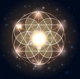 Geometría sagrada Formas geométricas abstractas en un fondo que brilla intensamente azul marino Imagen de archivo