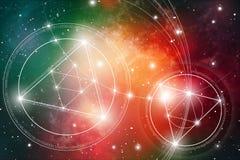 Geometría sagrada Matemáticas, naturaleza, y espiritualidad en espacio La fórmula de la naturaleza imagen de archivo