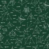 Geometri skissar seamless textur Skolasvart tavla med skissar och geometriska beståndsdelar arkivfoton