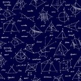 Geometri skissar seamless textur Skolasvart tavla med skissar och geometriska best?ndsdelar arkivbild