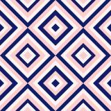 A geometria abstrata nos azuis marinhos e cora rosa, teste padrão da forma da forma do diamante Fotografia de Stock Royalty Free