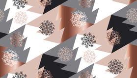 Geometria da árvore do xmas do sumário da cor do ouro de Rosa Fotos de Stock Royalty Free