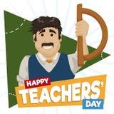 Geometria nauczyciel Świętuje jego dzień z kątomierzem, Wektorowa ilustracja ilustracja wektor