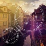 Geometria sagrado Matemática, natureza, e espiritualidade na natureza A fórmula da natureza foto de stock royalty free
