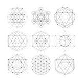 Geometria sagrado Sinais e símbolos da astrologia da numerologia ilustração stock