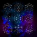 Geometria sagrado Sinais e símbolos da astrologia da numerologia ilustração royalty free