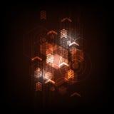 Geometria w technologii pojęciu na zmroku - pomarańczowy tło Zdjęcia Royalty Free