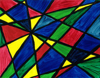 Geometric Abstract. Acrylics on canvas, scanned at high resolution and touched up in Photoshop Stock Images