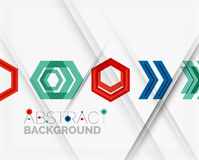 Geometric abstract background. Arrow design. Geometric abstract background. Arrow, technology or motion concept Stock Images