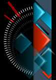 Geometric abstract background black, red and blue. Abstract background with geometric shapes, black, blue and red stock illustration