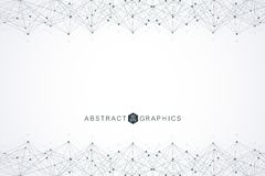 Geometric abstract background with connected line and dots. Big Data Visualization. Global network connection. Structure. Molecule and communication. Technology Royalty Free Stock Images