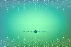 Geometric abstract background with connected line and dots. Big Data Visualization. Global network connection vector. Simple graphic background communication Stock Image