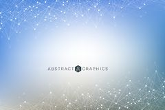 Geometric abstract background with connected line and dots. Big Data Visualization. Global network connection vector. Simple graphic background communication Royalty Free Stock Photo