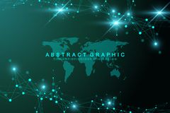 Geometric abstract background with connected line and dots. Graphic background with world map for your design. Vector. Illustration Royalty Free Stock Photos