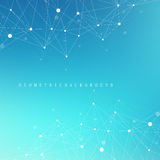 Geometric abstract background with connected line and dots. Graphic background for your design. Cybernetic background Royalty Free Stock Photo