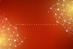 Geometric abstract background with connected line and dots.  Royalty Free Stock Photo