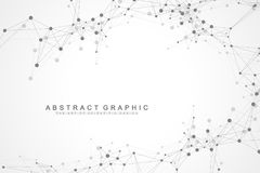 Geometric abstract background with connected line and dots. Graphic background for your design. Vector illustration.  Royalty Free Stock Image