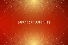 Geometric abstract background with connected line and dots.  Royalty Free Stock Photography