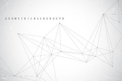 Geometric abstract background with connected line and dots. Network and connection background for your presentation Stock Images