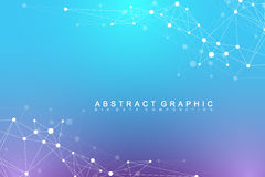 Geometric abstract background with connected line and dots. Network and connection background for your presentation Royalty Free Stock Image