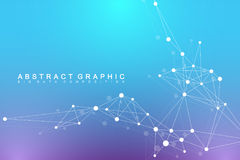 Geometric abstract background with connected line and dots. Network and connection background for your presentation Stock Photos