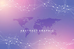 Geometric abstract background with connected line and dots. Network and connection background for your presentation Royalty Free Stock Photography