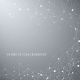 Geometric abstract background with connected line and dots. Network and connection background for your presentation Royalty Free Stock Photo