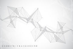 Geometric abstract background with connected line and dots. Network and connection background for your presentation Stock Photo