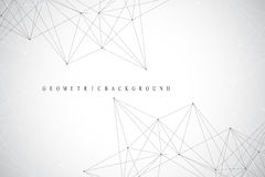 Geometric abstract background with connected line and dots. Network and connection background for your presentation. Graphic polyg Royalty Free Stock Photos