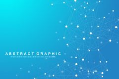 Geometric abstract background with connected line and dots. Network and connection background for your presentation. Graphic polygonal background. Scientific stock illustration