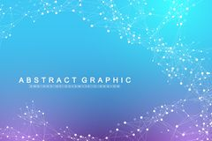 Geometric abstract background with connected line and dots. Network and connection background for your presentation. Graphic polygonal background. Scientific royalty free illustration