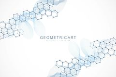 Geometric abstract background with connected line and dots. Scientific concept for your design. Global cryptocurrency vector illustration