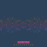 Geometric abstract background with connected line and dots. Scientific concept for your design. Vector illustration Stock Photography