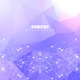 Geometric abstract background with connected line and dots. Scientific concept for your design. Vector illustration Royalty Free Stock Images