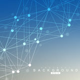 Geometric abstract background with connected line and dots. Scientific concept for your design. Vector illustration Stock Image