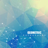 Geometric abstract background with connected line and dots. Scientific concept for your design. Vector illustration Stock Photo