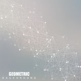 Geometric abstract background with connected line and dots. Scientific concept for your design. Vector illustration Royalty Free Stock Photography