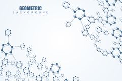 Geometric abstract background with connected line and dots. Structure molecule and communication. Scientific concept for Stock Images
