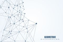 Geometric abstract background with connected line and dots. Structure molecule and communication. Scientific concept for Stock Photos