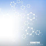 Geometric abstract background with connected line and dots. Structure molecule and communication. Scientific concept for. Your design. Medical, technology Vector Illustration