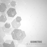 Geometric abstract background with connected line and dots. Structure molecule and communication. Scientific concept for. Your design. Medical, technology stock illustration