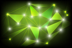 Geometric abstract background green. Glow in dark stock illustration