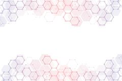 Geometric abstract background with hexagons elements. Medical background texture for modern design. Illustration of. Molecular structures and hexagons pattern vector illustration
