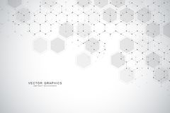 Geometric abstract background with hexagons. Structure molecule and communication. Science, technology and medical. Concept. Vector illustration Royalty Free Stock Photo