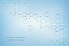 Geometric abstract background with hexagons. Structure molecule and communication. Science, technology and medical. Concept. Vector illustration Royalty Free Stock Photography