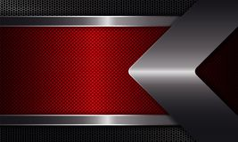 Geometric background with a red frame, a shiny edging, with an arrow of metallic hue. Geometric abstract background with a red frame, a shiny edging, with an vector illustration